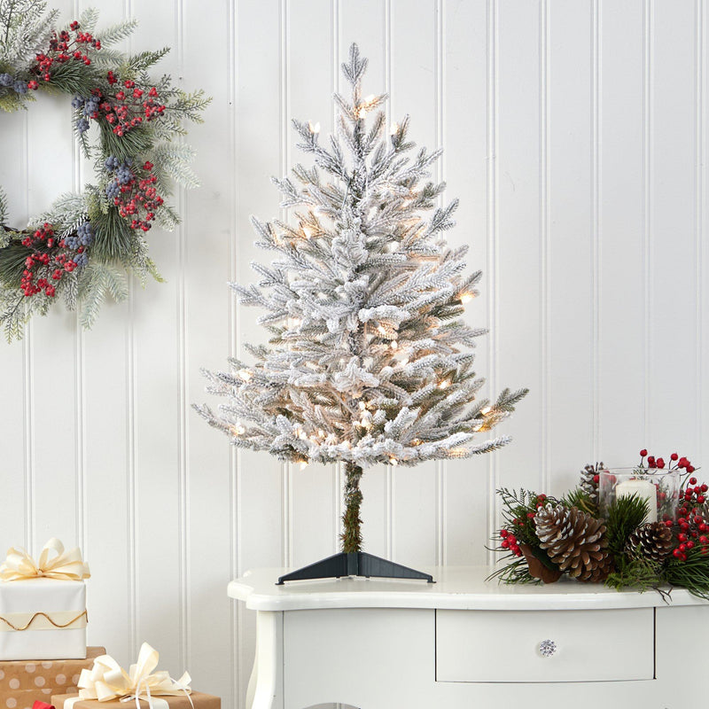 3' Flocked Fraser Fir Artificial Christmas Tree with 200 Warm White Lights and 481 Bendable Branches