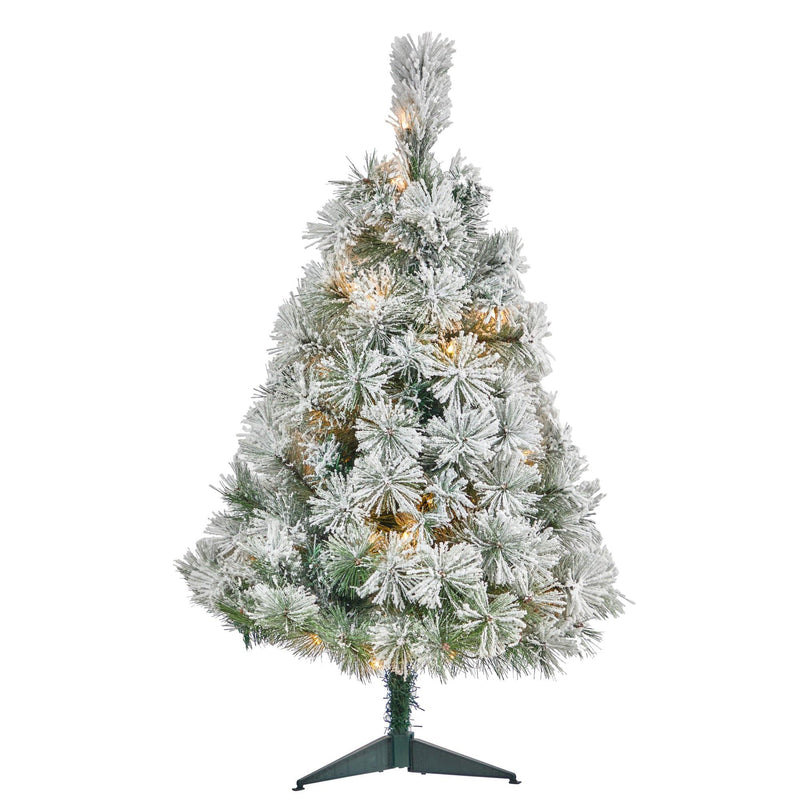 3' Flocked Oregon Pine Artificial Christmas Tree with 50 Clear Lights and 113 Bendable Branches