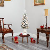 3' Flocked Pencil Artificial Christmas Tree with 50 Clear Lights and 132 Bendable Branches in White Urn