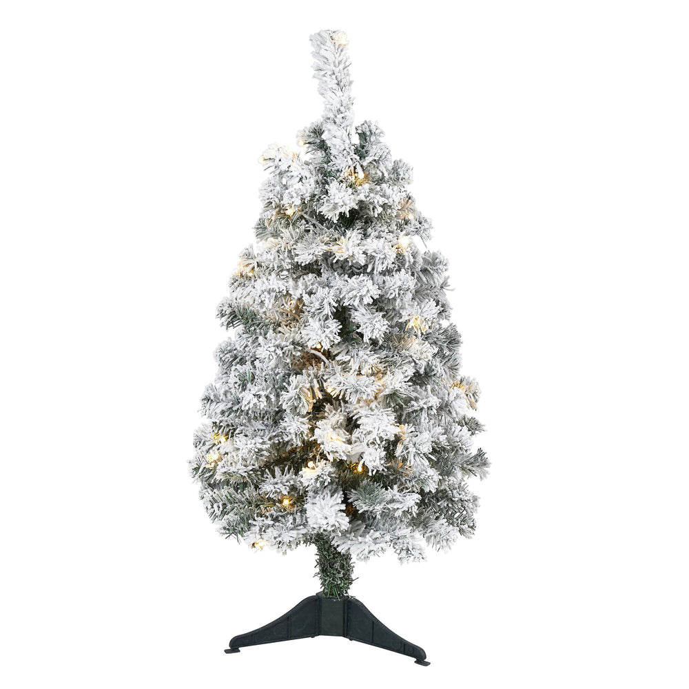 3' Flocked Rock Springs Spruce Artificial Christmas Tree with 50 Clear LED Lights