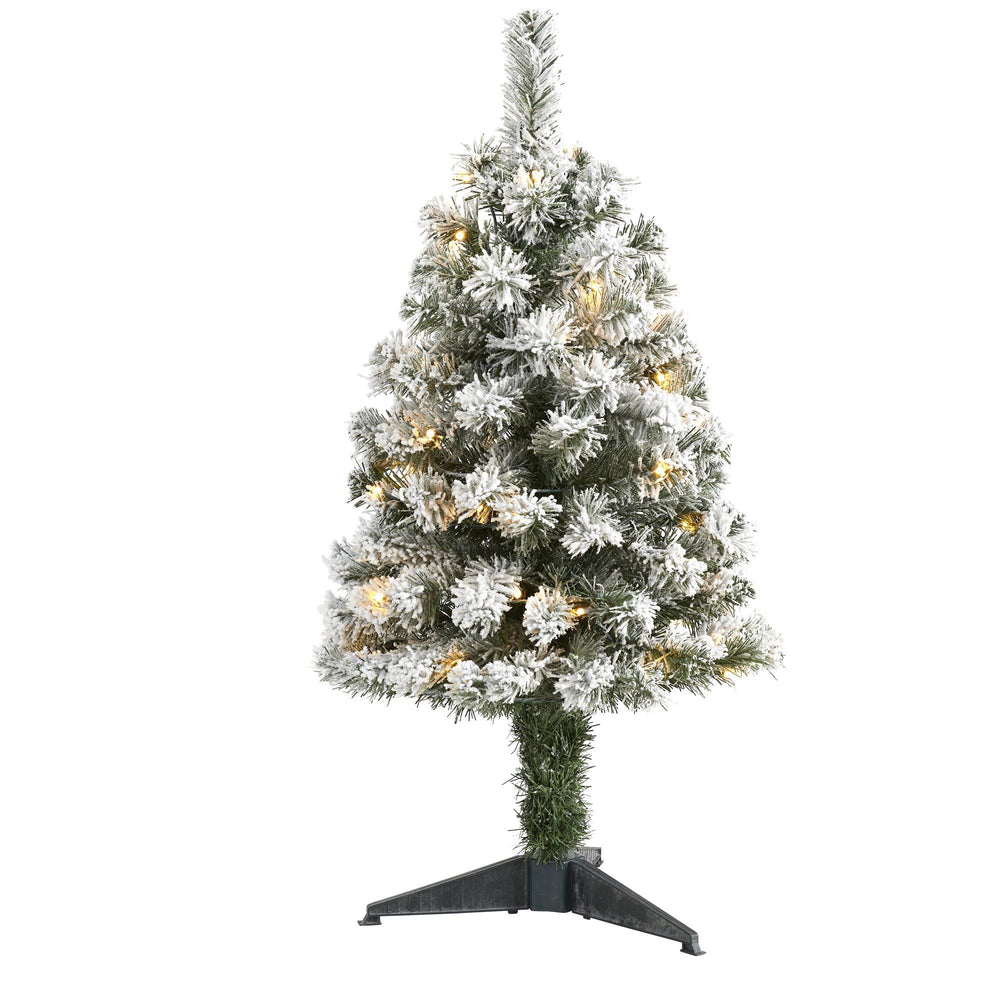 3' Flocked West Virginia Fir Artificial Christmas Tree with 50 Clear LED Lights