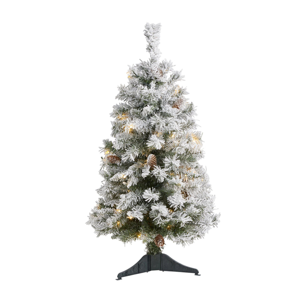 3' Flocked White River Mountain Pine Artificial Christmas Tree with Pinecones and 50 Clear LED Lights