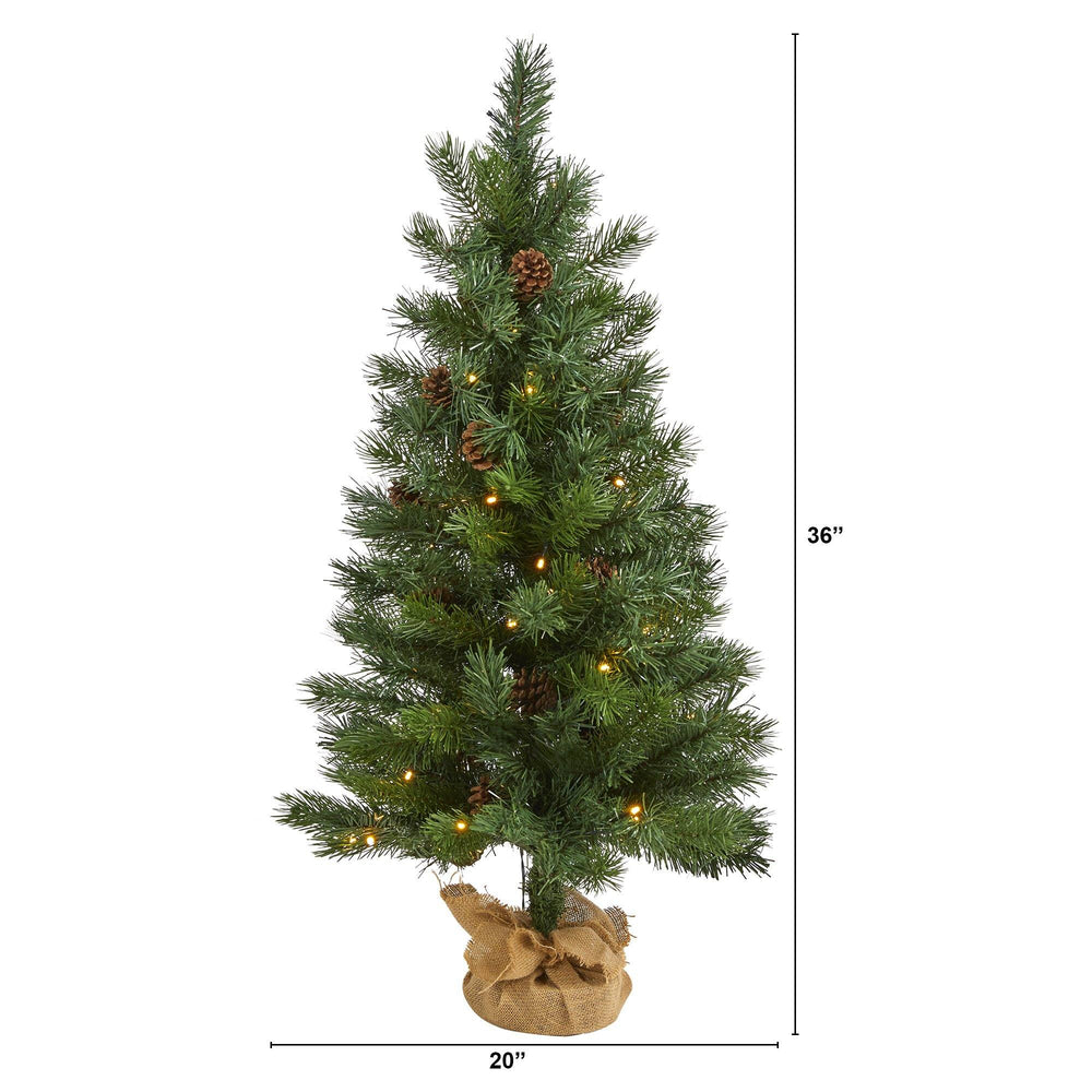 "3' Fraser Fir ""Natural Look"" Artificial Christmas Tree with 50 Clear LED Lights, Pinecones, a Burlap Base and 90 Bendable Branches"