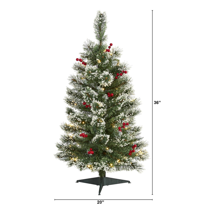 3' Frosted Swiss Pine Artificial Christmas Tree with 50 Clear LED Lights and Berries