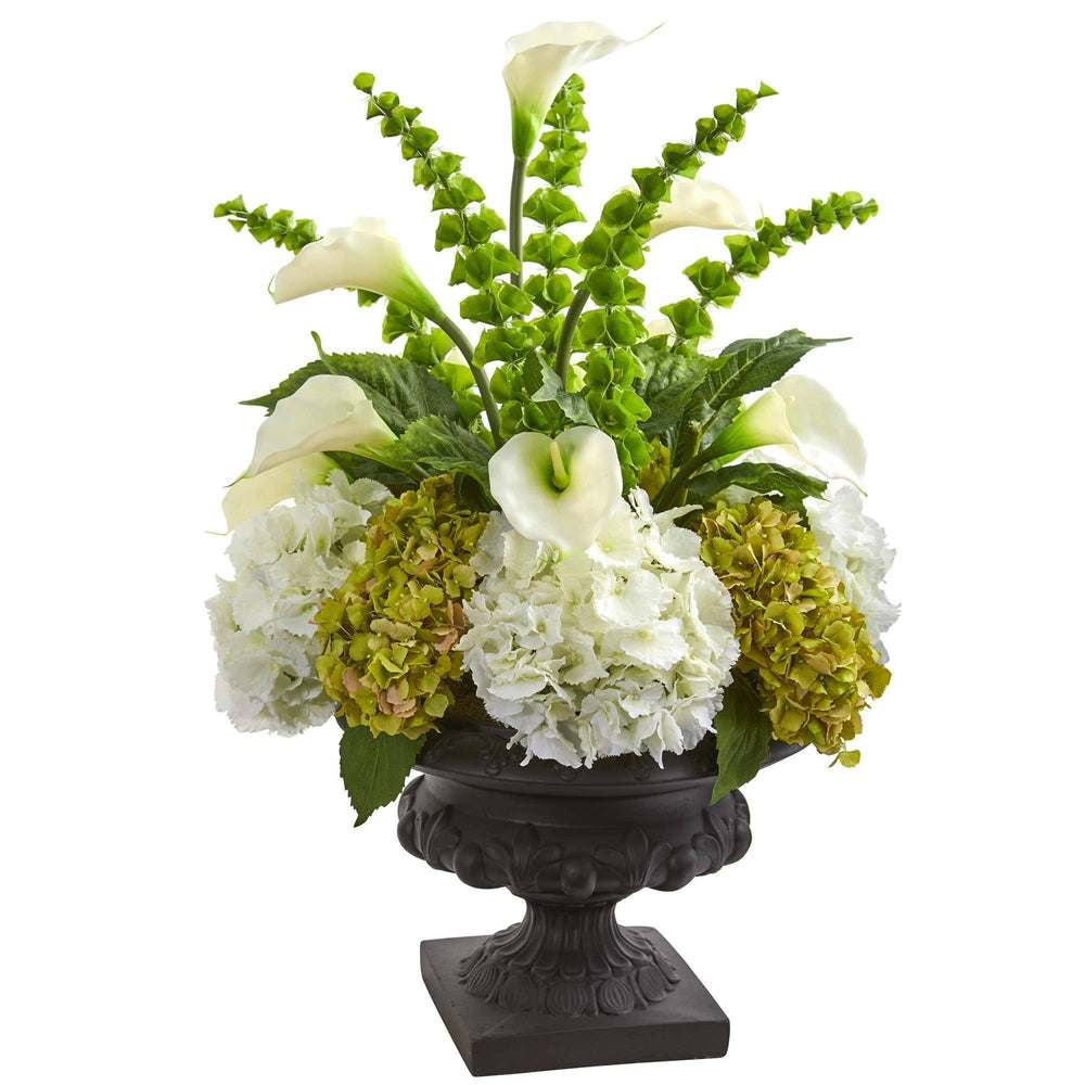 3 Hydrangea Mixed Floral Artificial Arrangement In Urn Nearly Natural