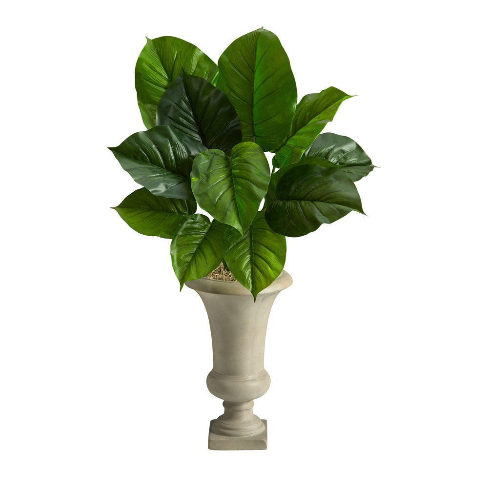 3' Large Philodendron Leaf Artificial Plant in Sand Colored Urn