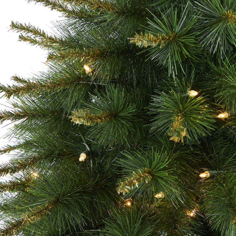 3' New England Pine Artificial Christmas Tree with 50 Clear Lights and 117 Bendable Branches