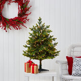 3' North Carolina Fir Artificial Christmas Tree with 150 Clear Lights and 563 Bendable Branches