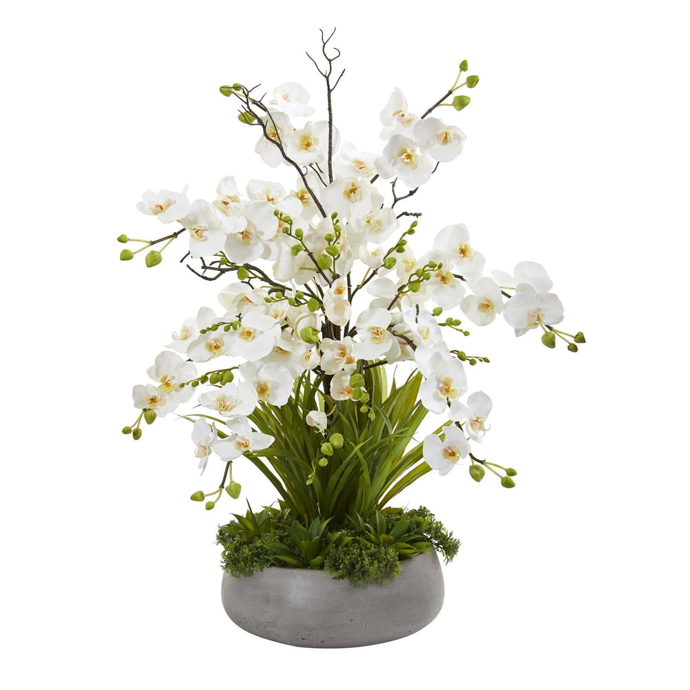 3' Phalaenopsis Orchid and Agave Artificial Arrangement in Gray Vase
