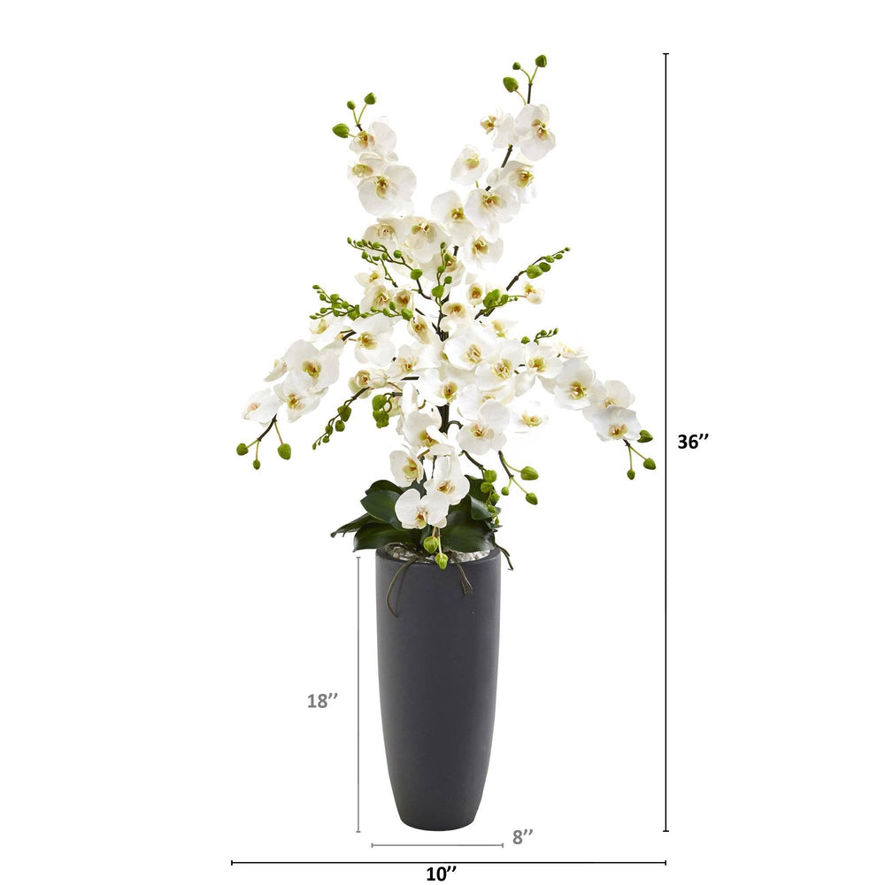 3' Phalaenopsis Orchid Artificial Arrangement in Gray Vase