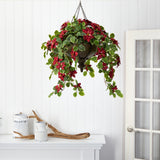 3' Poinsettia and Variegated Holly Artificial Plant in Metal Hanging Bowl (Real Touch)