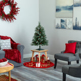 3' Snowed French Alps Mountain Pine Artificial Christmas Tree with 135 Bendable Branches and Pine Cones