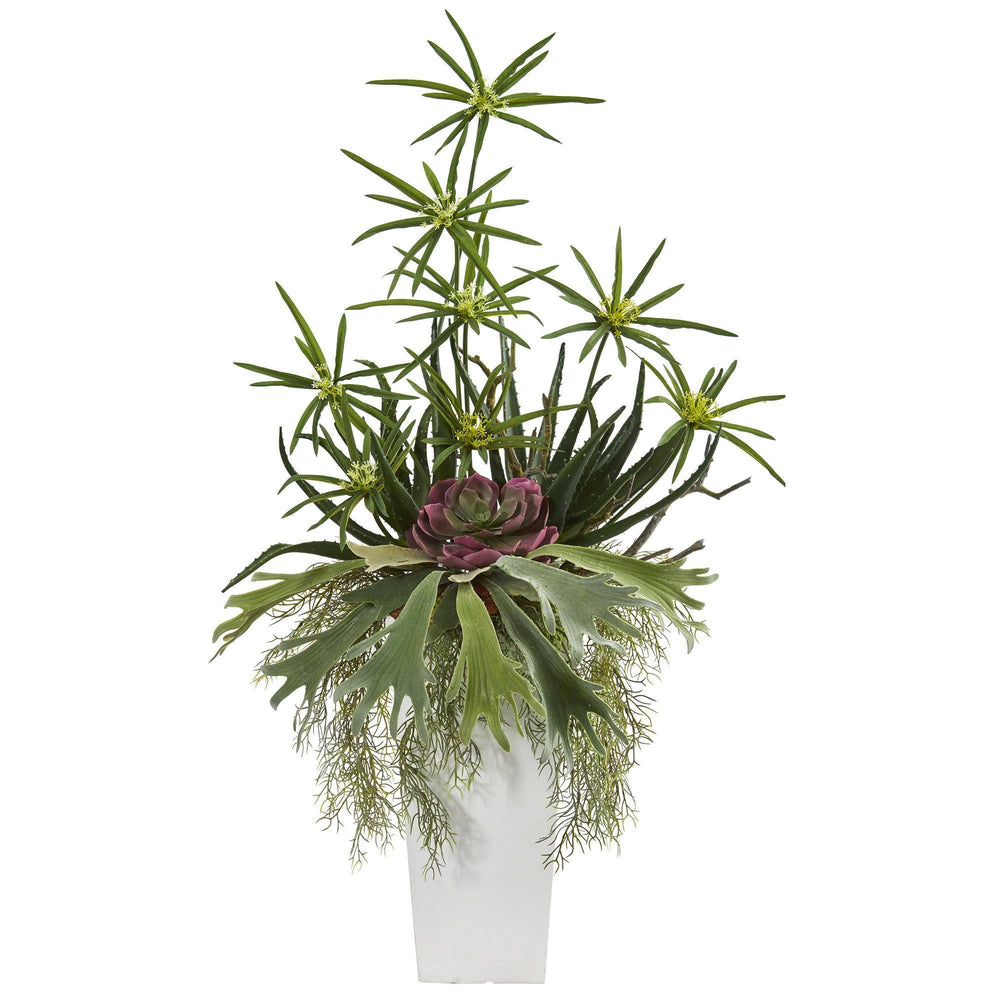 3' Staghorn, Succulent and Cyperus Artificial Plant in White Planter