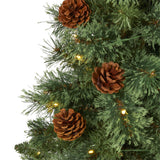 3' White Mountain Pine Artificial Christmas Tree with 50 Clear LED Lights and Pine Cones