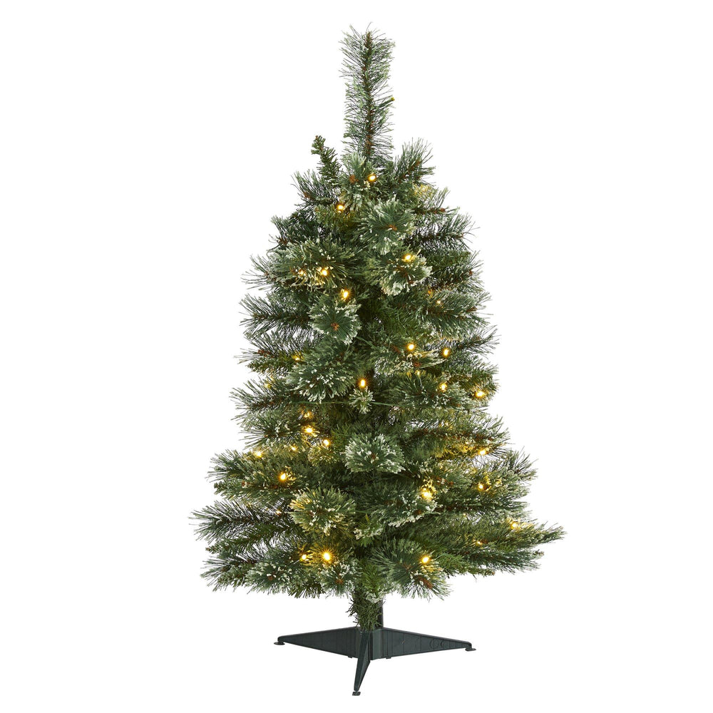 3' Wisconsin Slim Snow Tip Pine Artificial Christmas Tree with 50 Clear LED Lights