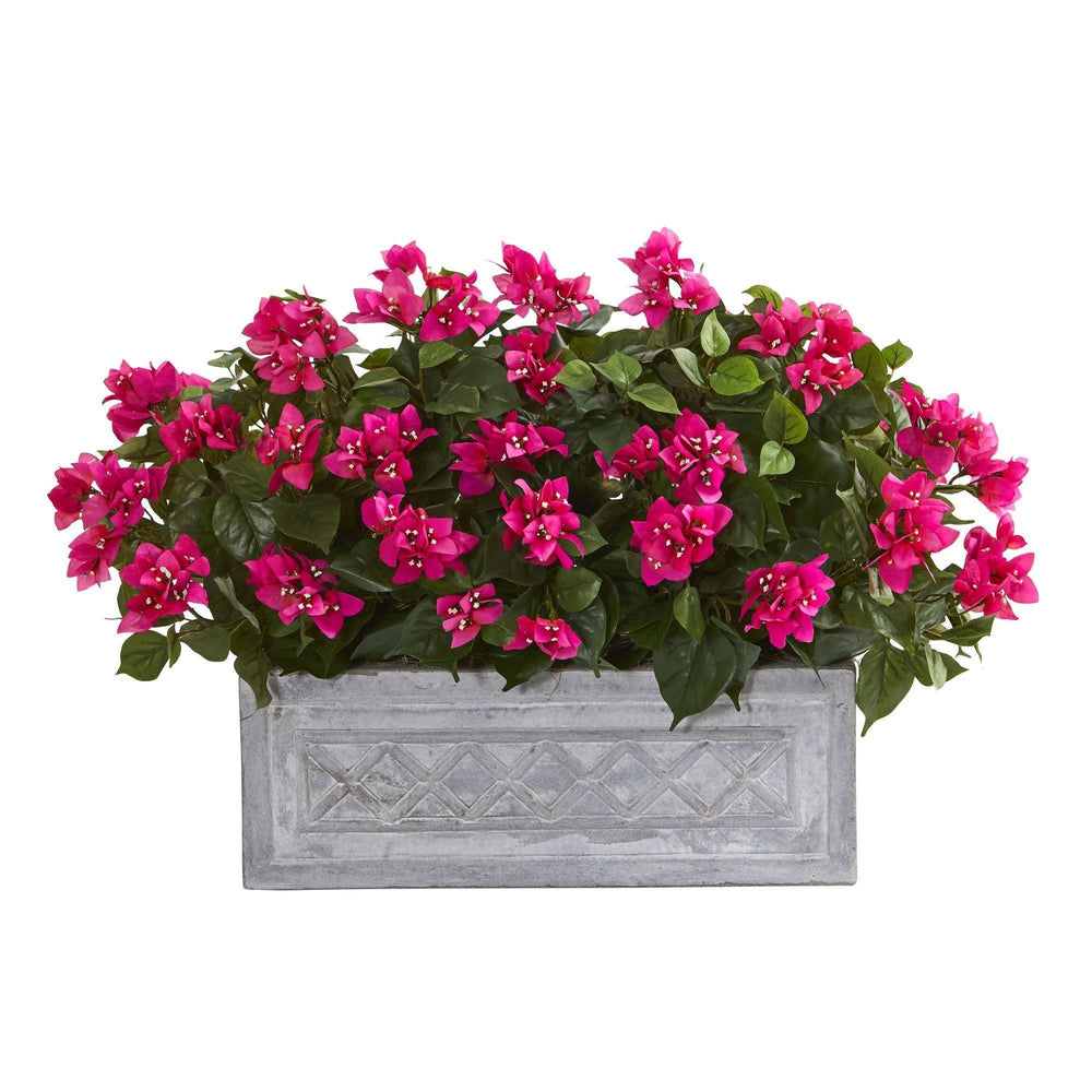 "30"" Bougainvillea Artificial Plant in Stone Planter"