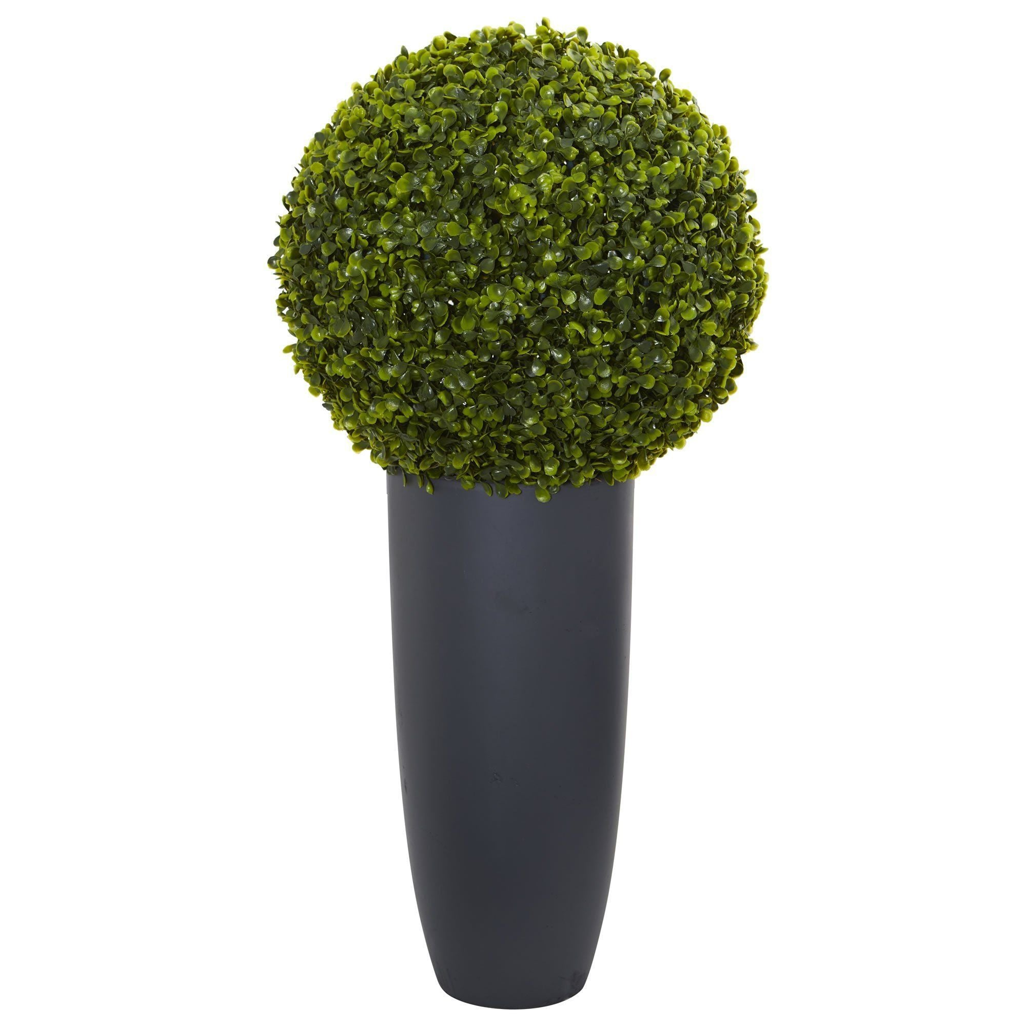 30 Boxwood Artificial Topiary Plant In Gray Cylinder Planter Indoor Outdoor Nearly Natural