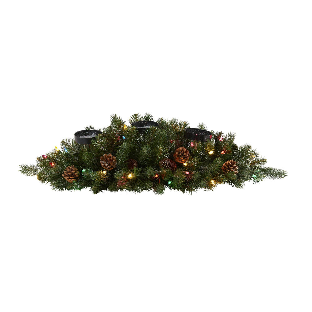 "30"" Flocked and Glittered Artificial Christmas Triple Candelabrum with 35 Multicolored Lights and Pine Cones"