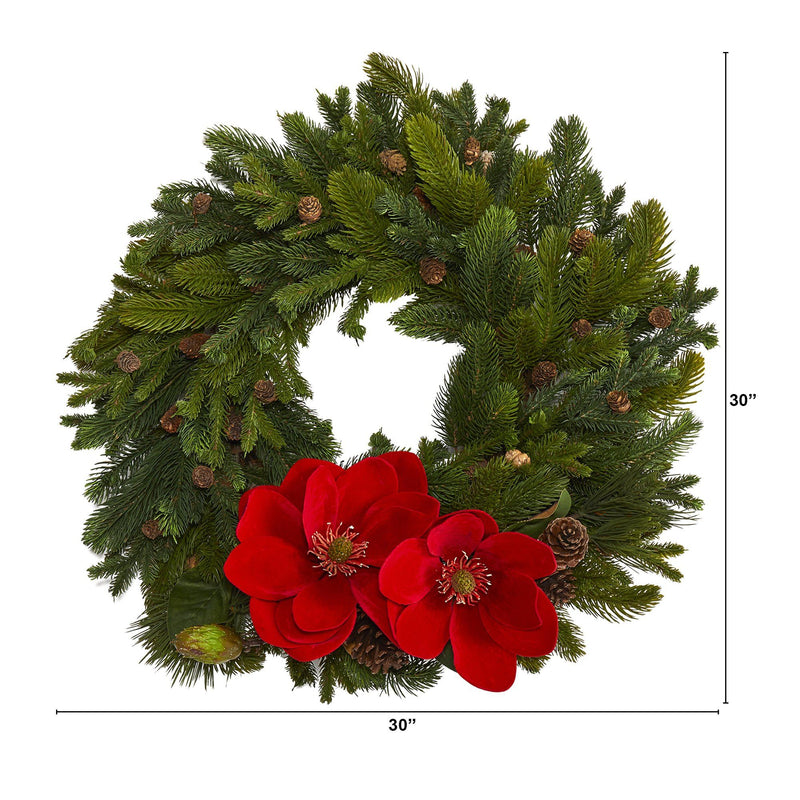 "30"" Magnolia, Pine and Pinecone Artificial Wreath"