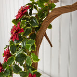 "30"" Poinsettia and Variegated Holly Artificial Plant (Set of 2) (Real Touch)"
