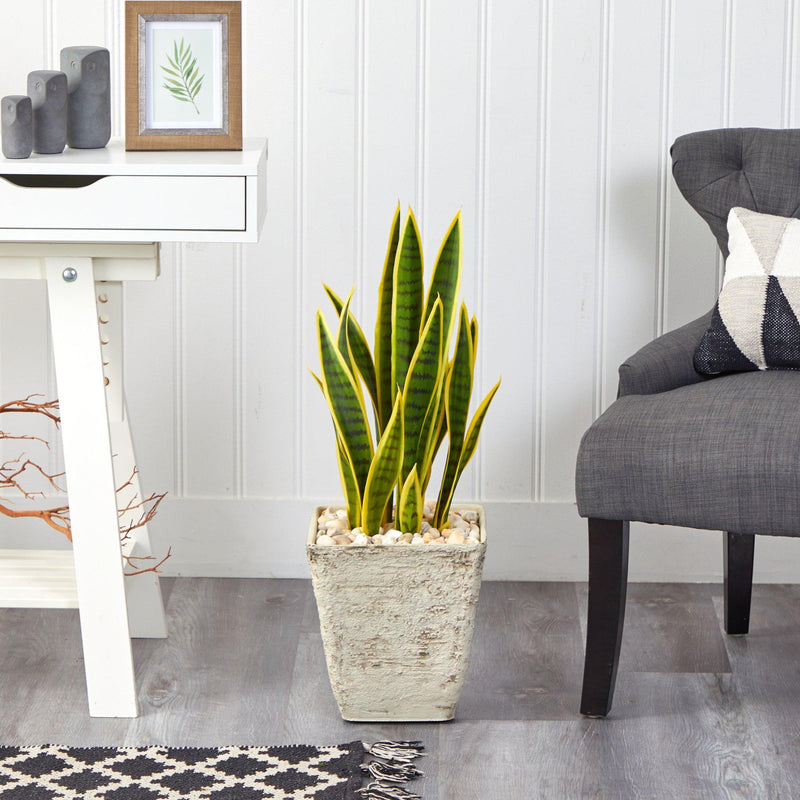 "30"" Sansevieria Artificial Plant in Country White Planter"