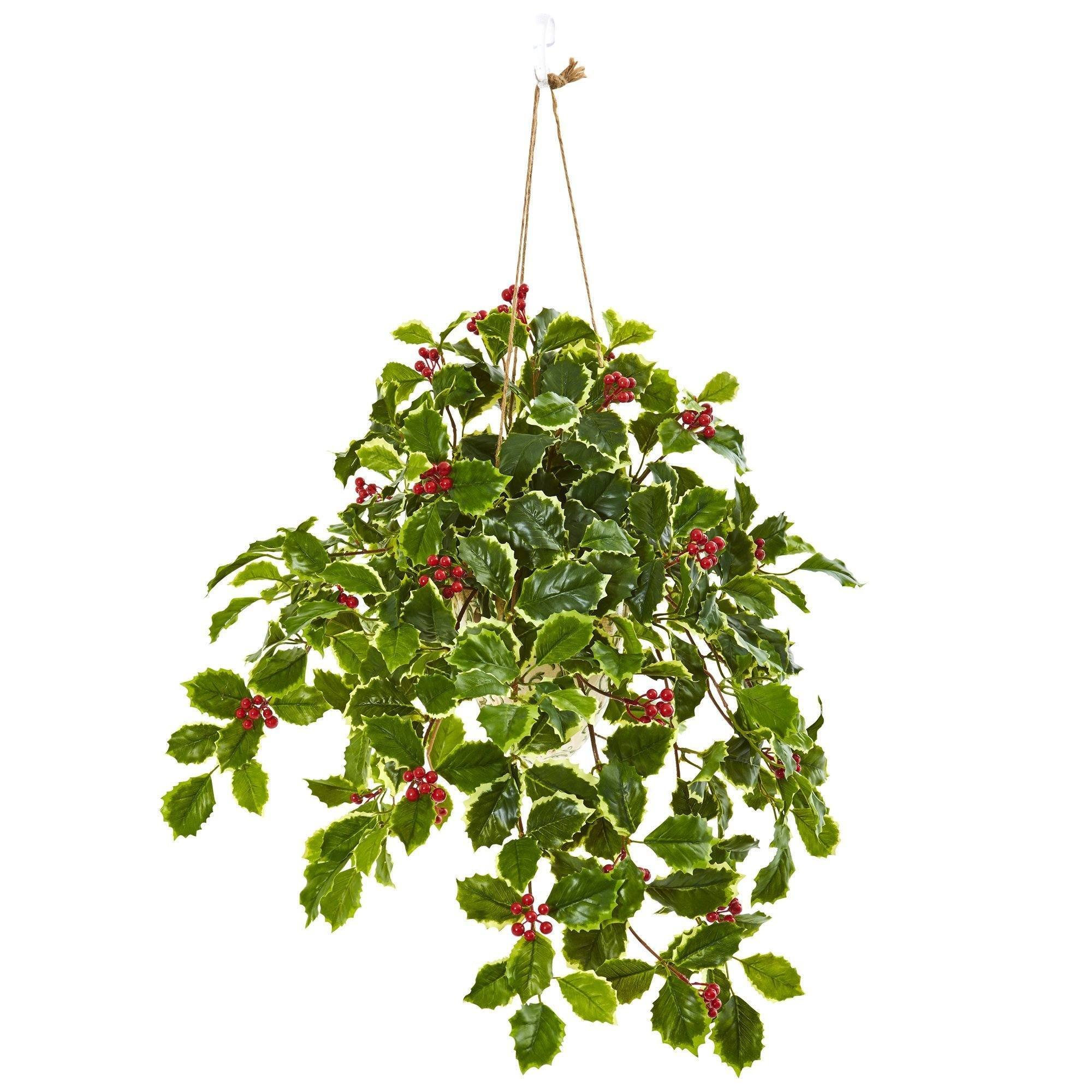 FloristryWarehouse Holly Bush with Berries Artificial 16in Variegated