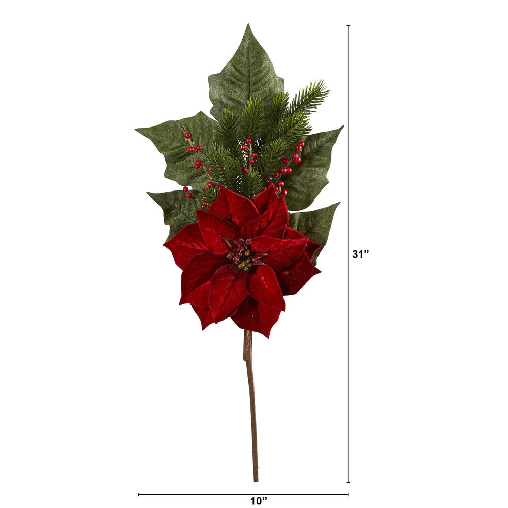 "31"" Poinsettia, Berries and Pine Artificial Flower Bundle (Set of 3)"