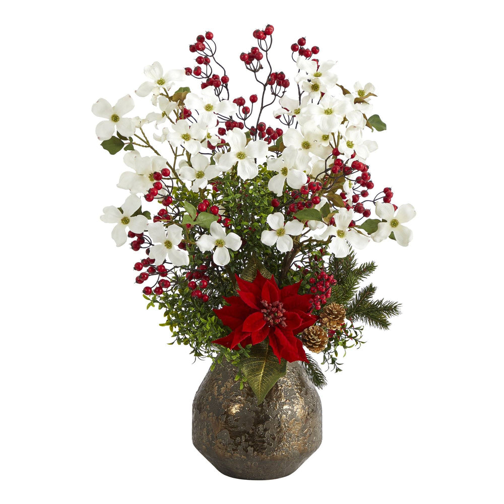 "31"" Poinsettia, Dogwood and Berry Artificial Arrangement in Designer Vase"