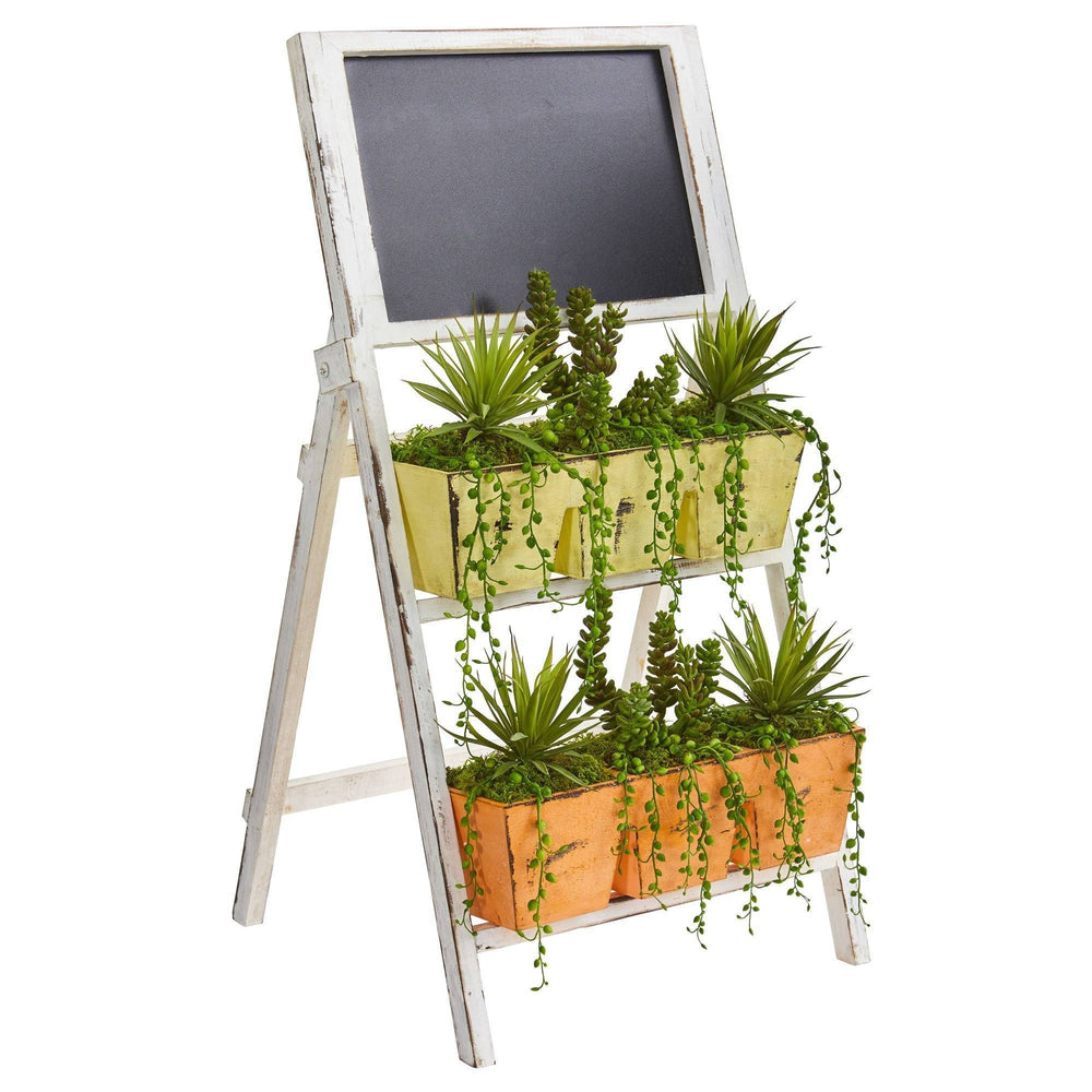 "31"" Succulent Garden Artificial Plant in Farmhouse Stand with Chalkboard"