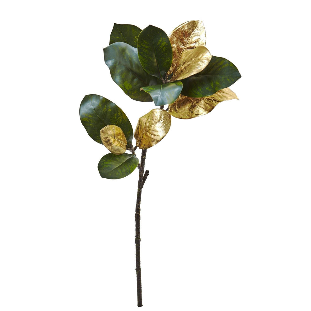 "32"" Golden Magnolia Leaf Artificial Stem (Set of 3)"