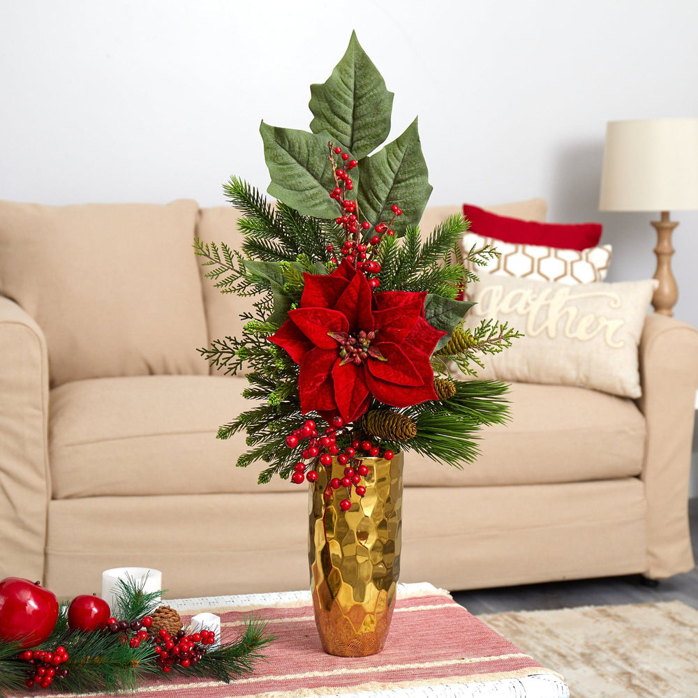 "32"" Poinsettia, Berries, Pine and Pinecone Artificial Arrangement in Gold Vase"