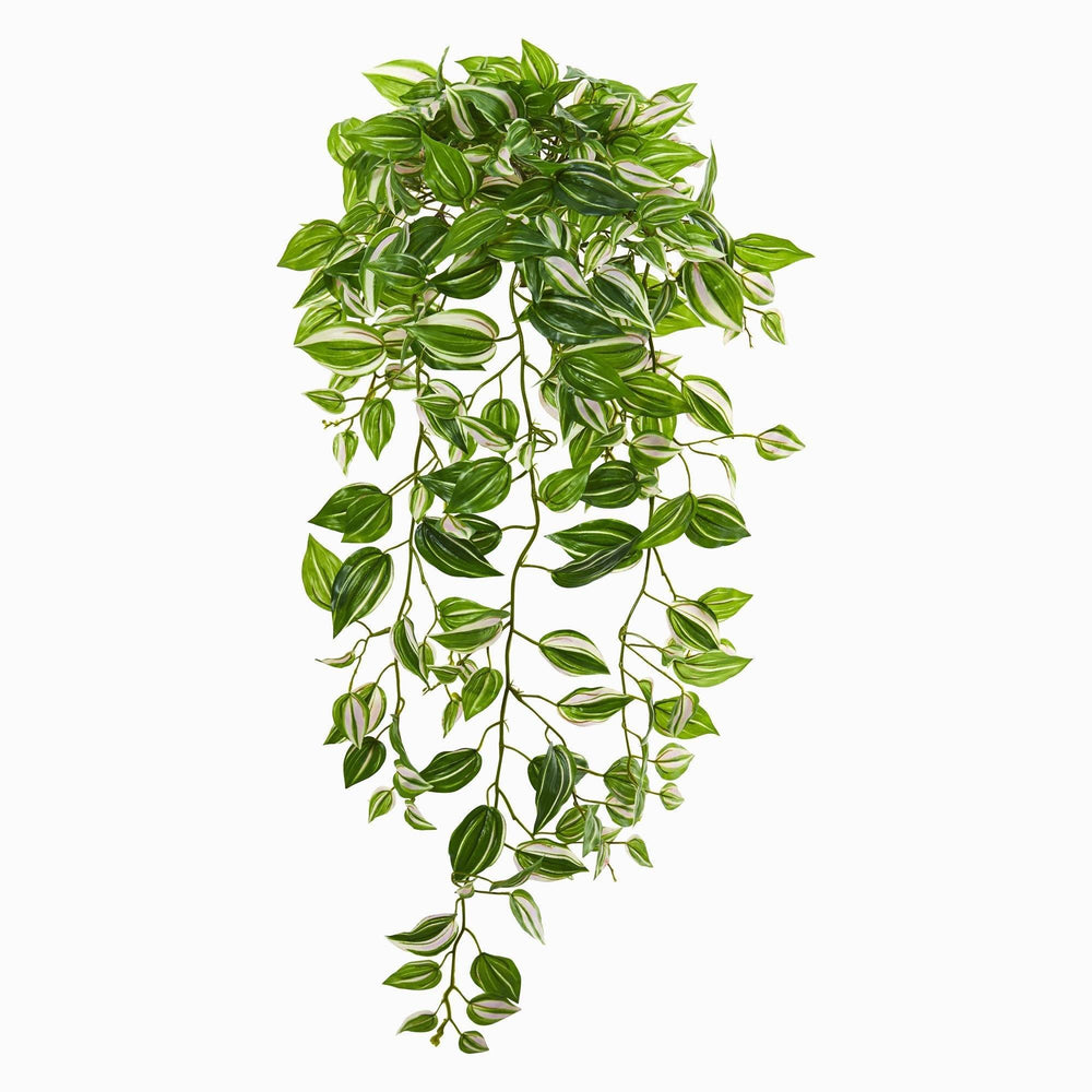 32 Wandering Jew Hanging Artificial Plant Set Of 2 Real Touch Nearly Natural
