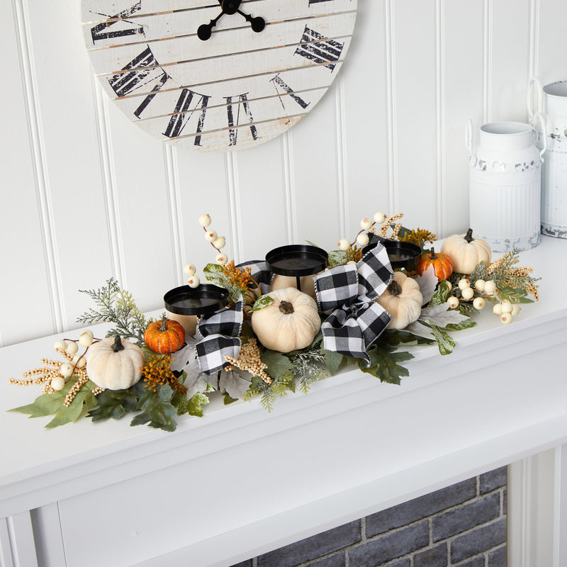 "32"" White Pumpkin and Berries Artificial Candelabrum"