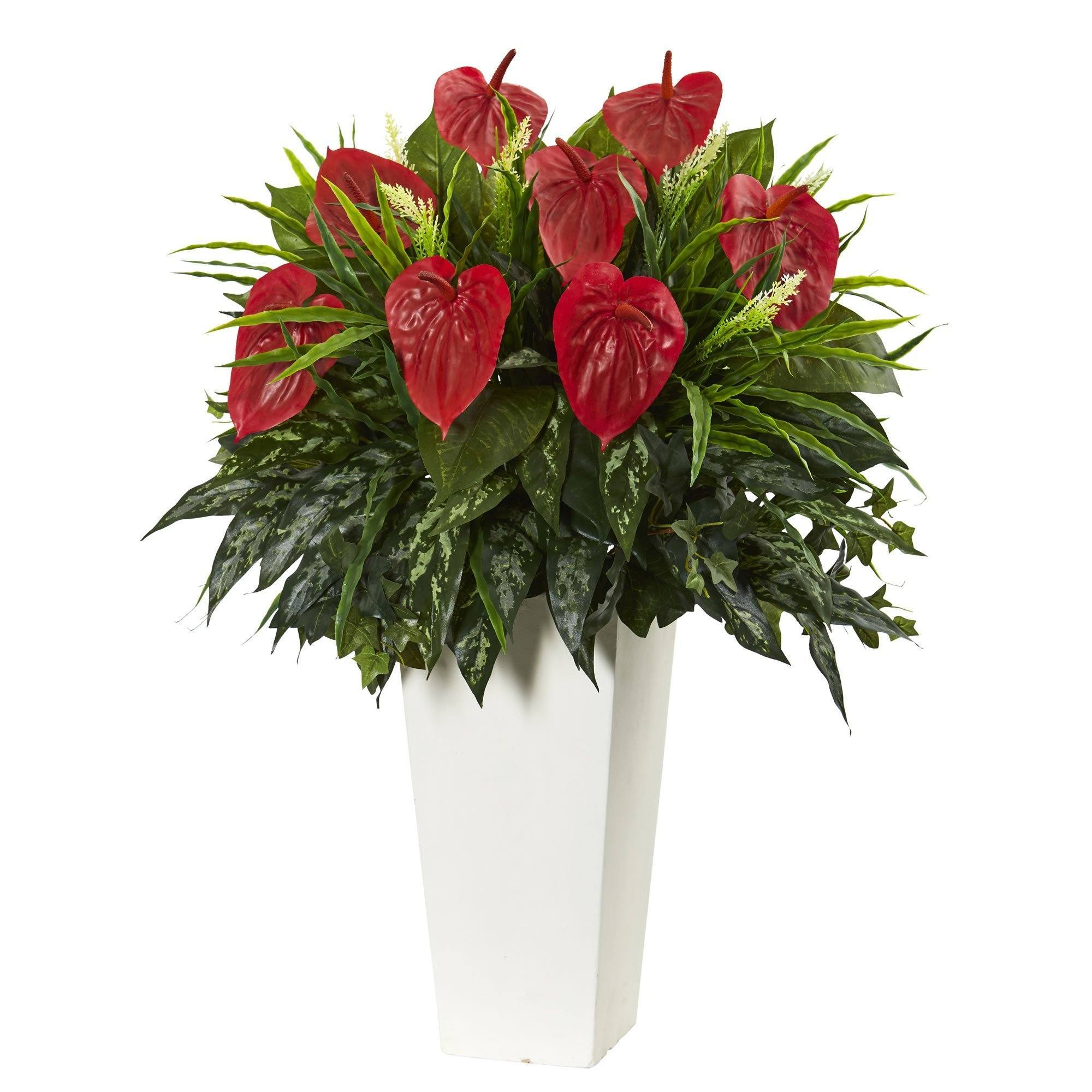 Artificial Mixed Anthurium Plant In White Tower Vase Nearly Natural