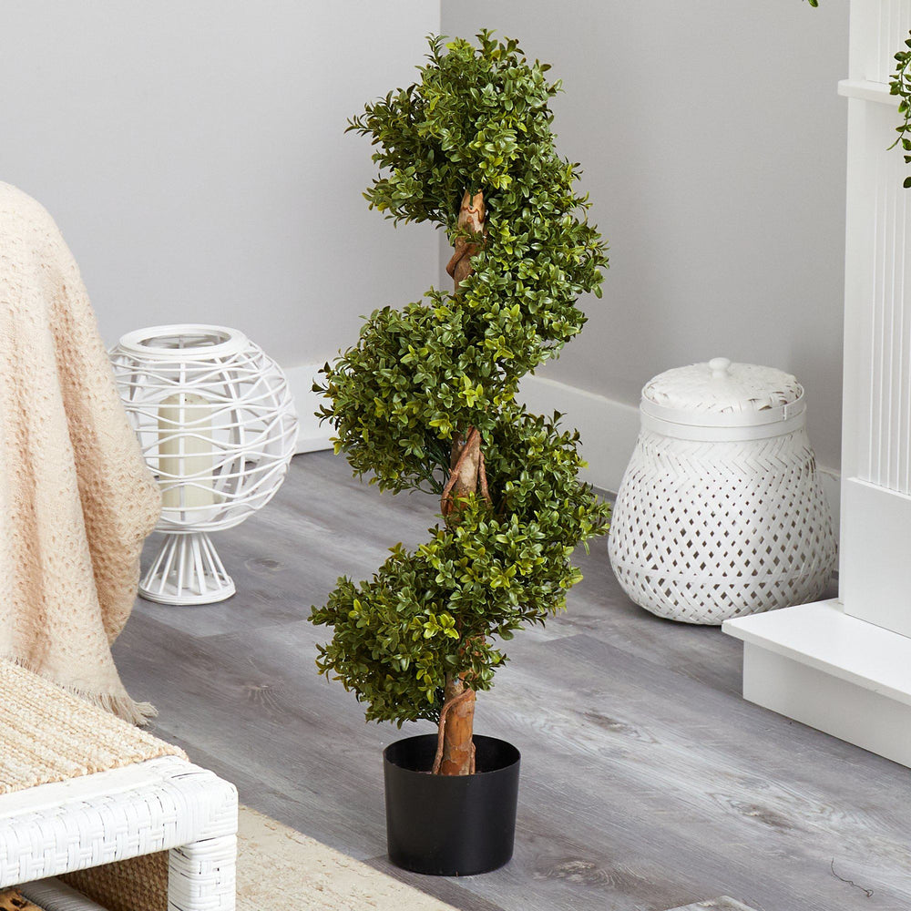 "33"" Boxwood Topiary Spiral Artificial Tree (Indoor/Outdoor)"