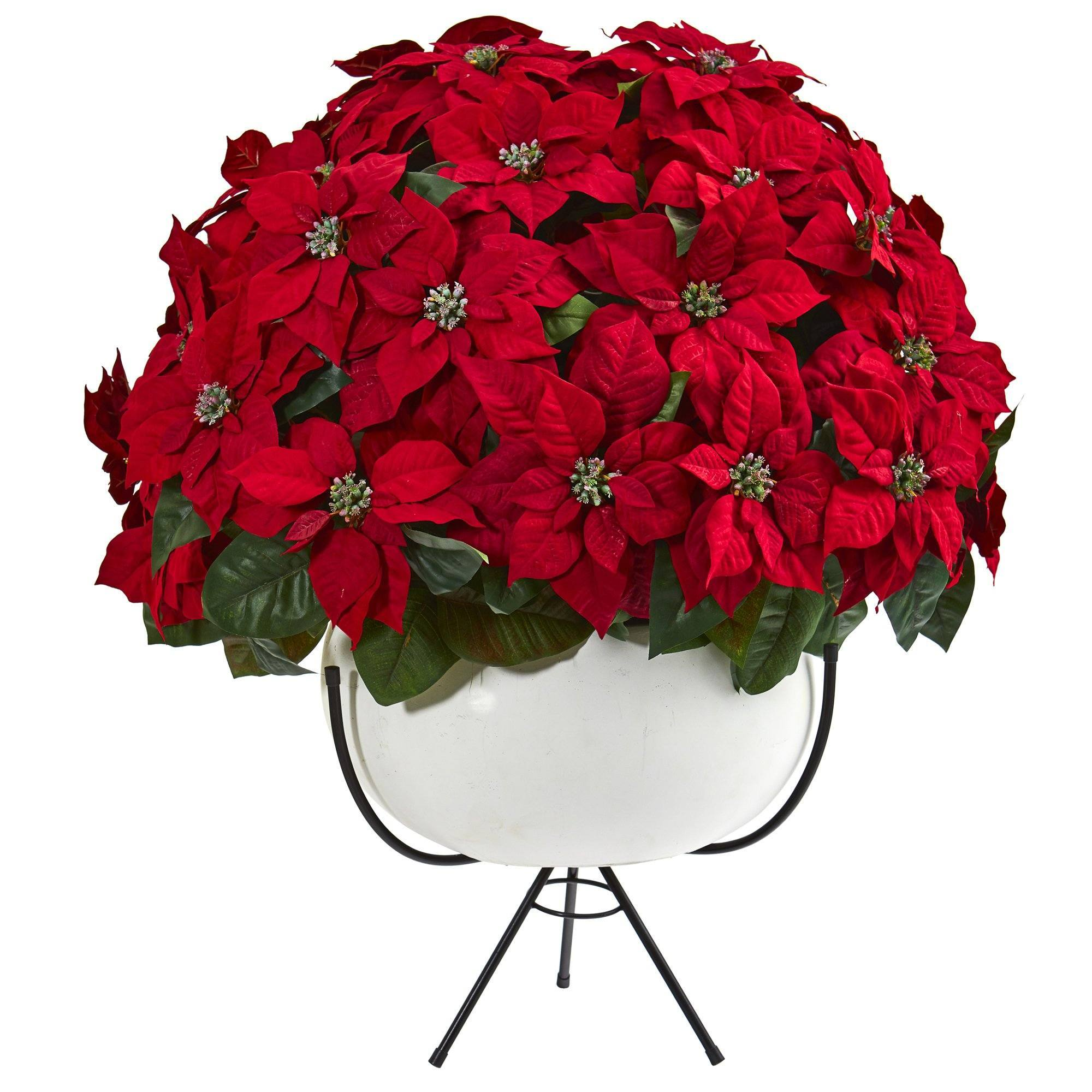 33 Grand Poinsettia Artificial Arrangement In White Vase With