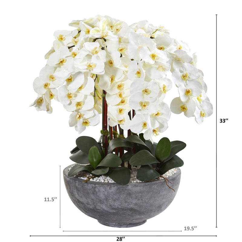 "33"" Phalaenopsis Orchid Artificial Arrangement in Large Cement Bowl"