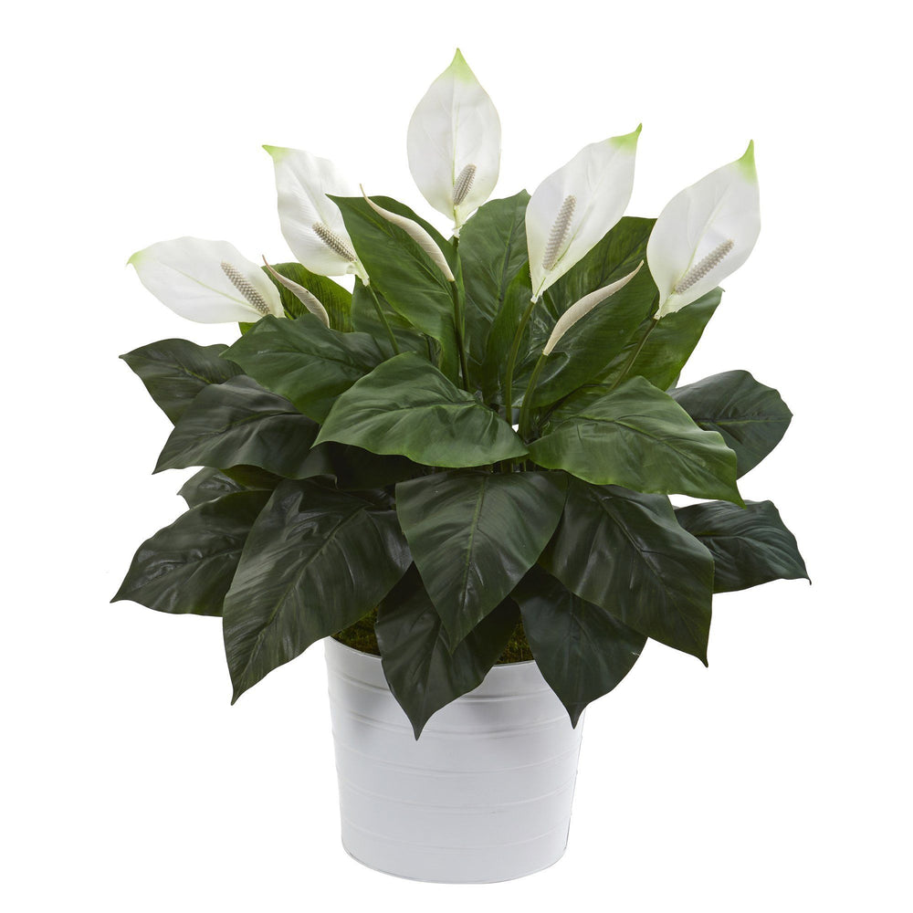 "33"" Spathiphyllum Artificial Plant in White Planter"