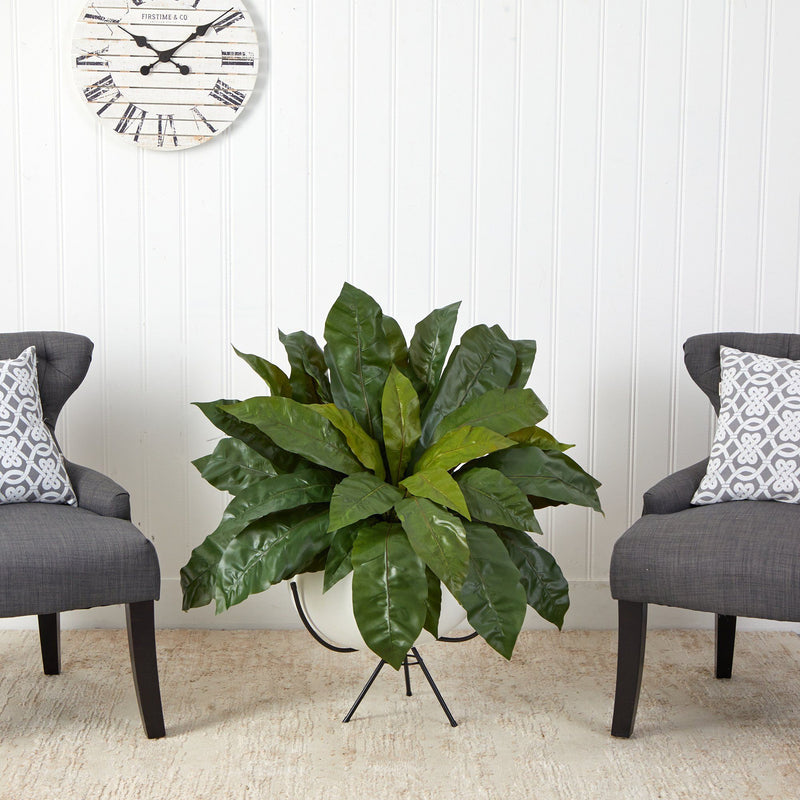 "34"" Bird's Nest Fern Artificial Plant in White Planter with Metal Stand"