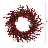 "34"" Cypress Artificial Wreath with Berries and Pine Cones"