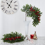 "34"" Pine and Berries Artificial Hanging Plant (Set of 3)"