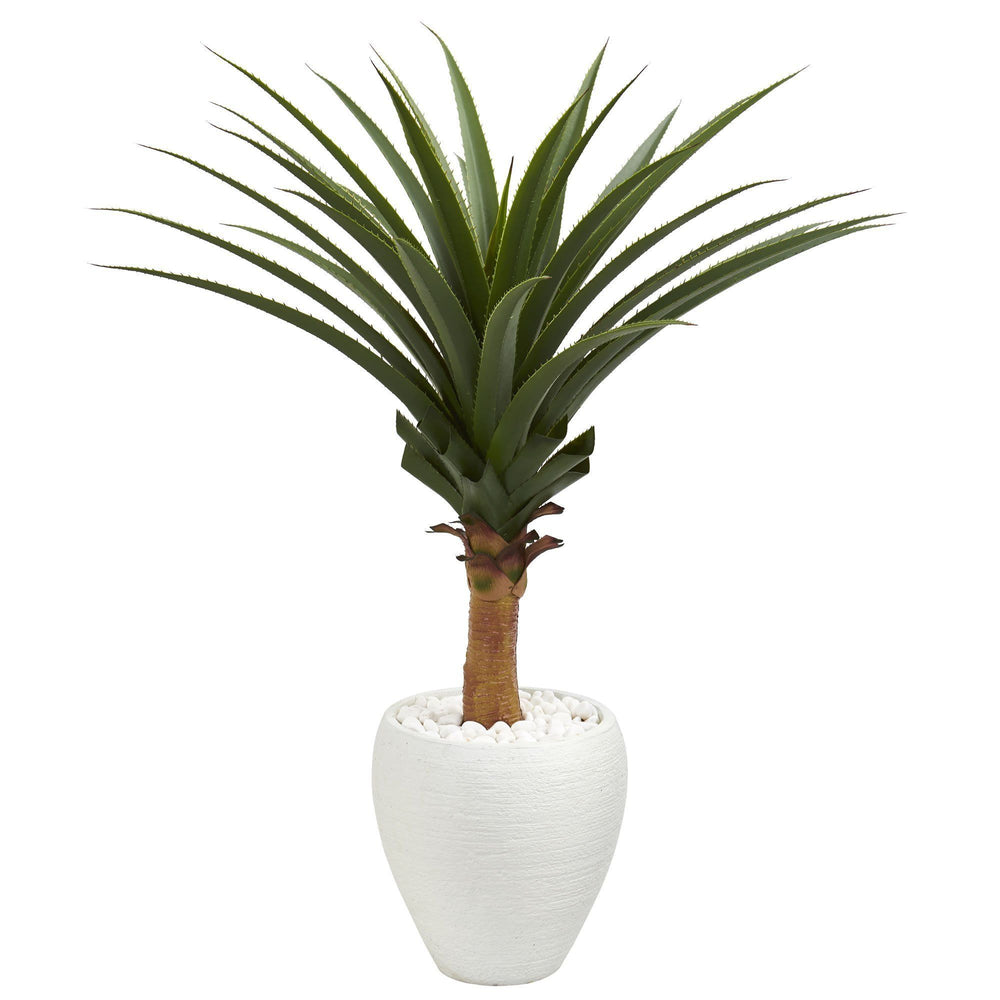3.5' Agave Artificial Plant in White Planter