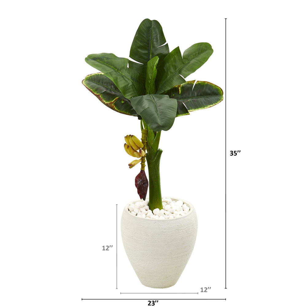 "35"" Banana Artificial Tree in White Planter"