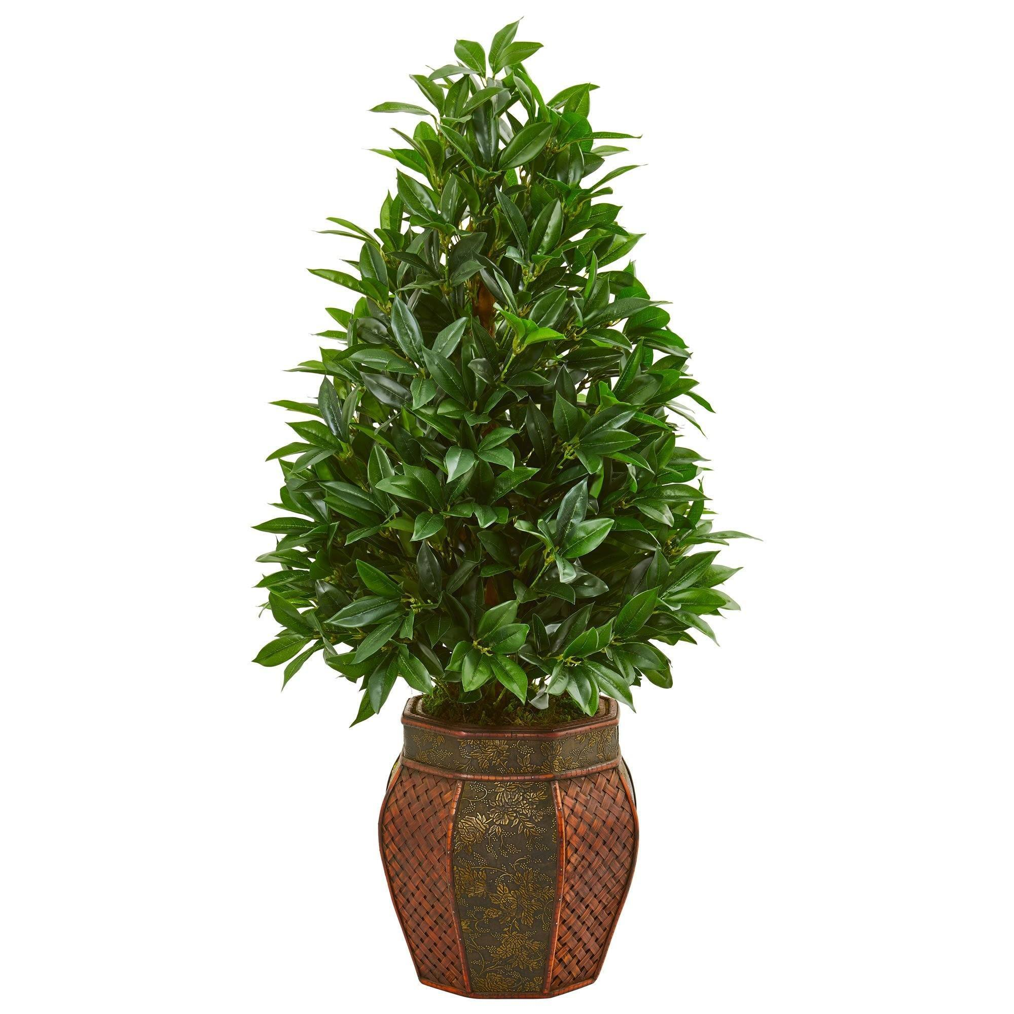 3 5 Bay Leaf Cone Topiary Artificial Tree In Decorative Planter Nearly Natural