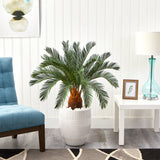 3.5' Cycas Artificial Tree in White Planter