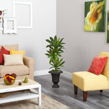 3.5' Dracaena Artificial Plant in Charcoal Urn (Real Touch)