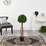 3.5' English Ivy Single Ball Topiary Artificial Tree with Natural Trunk UV Resistant (Indoor/Outdoor)