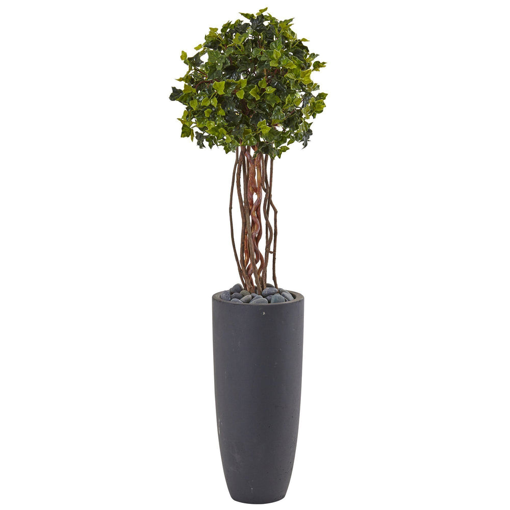 3.5' English Ivy Tree in Gray Cylinder Planter UV Resistant (Indoor/Outdoor)
