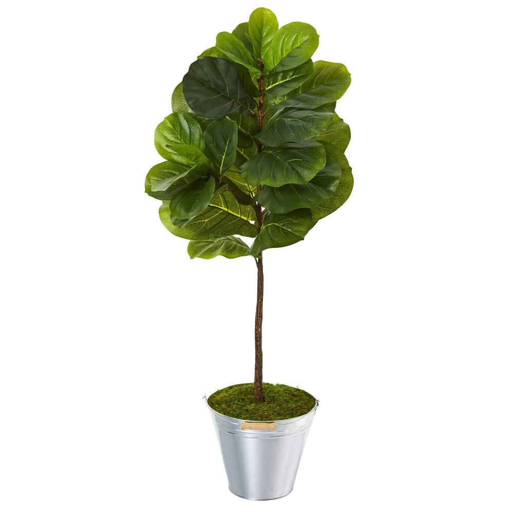 3.5' Fiddle Leaf Artificial Tree in Tin Bucket (Real Touch)
