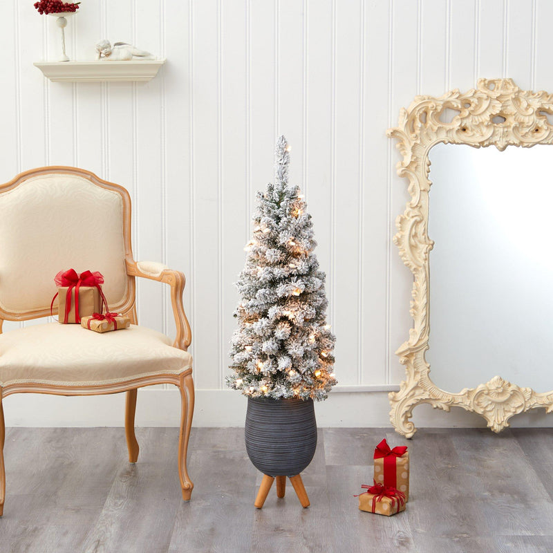 3.5' Flocked Pencil Artificial Christmas Tree with 50 Clear Lights and 132 Bendable Branches in Gray Planter with Stand